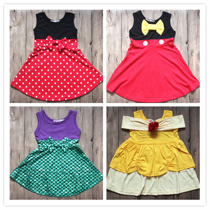 Birthday 2018 Summer Fancy Dress Cotton Princess Mickey Minnie Dress Yellow Bella Tinker Bell Mermaid Dress Cosplay Costume the little mermaid ariel princess dress cosplay adult ariel mermaid costume women mermaid princess ariel green dress cosplay