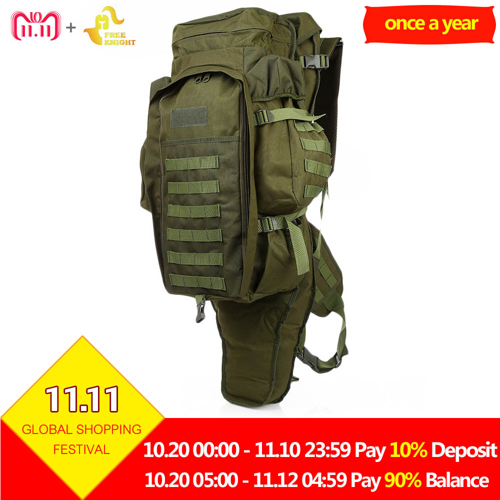 Free Knight 60L Outdoor Military Backpack USMC Army Military Tactical Backpack Travel Hiking Rucksack Hunting Camping Bag 5Color military usmc army tactical molle rifle backpack hiking hunting camping travel rucksack roll pack gun storage fishing rode bag