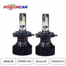 Foxcncar H11 H4 H7 IC Inteligente LEVOU Lâmpada Do Farol 150 m Gama 60 w 8000LM 6500 k caminhão 24 v iluminação do carro Ao Ar Livre zes chip ventilador Embutido