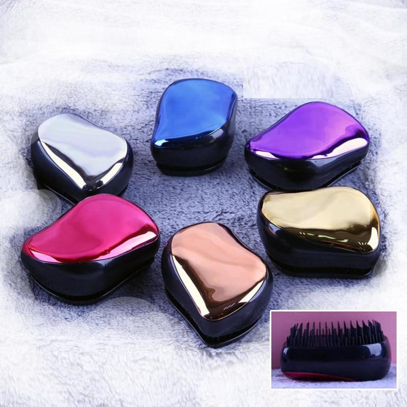 1pc Magic Anti-static Hair Brush Handle Tangle Detangling Comb Shower Electroplate Massage Comb Salon Hair Styling Tool