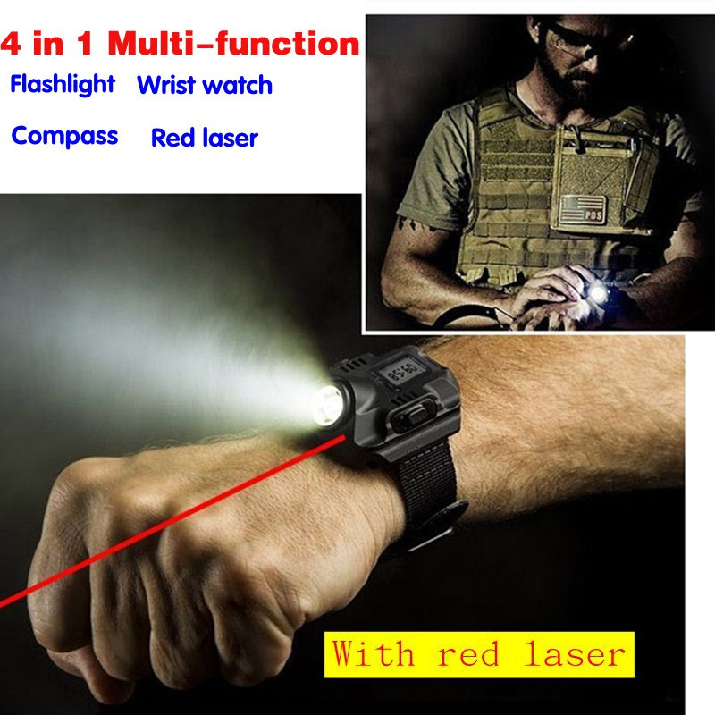 Multifuncional impermeable deportes carga USB llevó la antorcha del reloj con láser rojo iluminación recargable linterna táctica