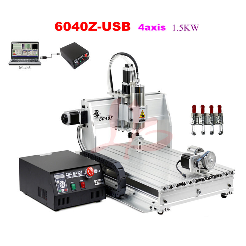 CNC Router 6040Z-USB 4axis  CNC engraving machine Wood lathe cutting machine cnc 5axis a aixs rotary axis t chuck type for cnc router cnc milling machine best quality