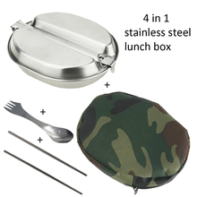 4 in 1 Stainless Steel  Camping Cooking Set Outdoor Picnic canteen Military Canteen Lunch Box with Camouflage Carry Bag