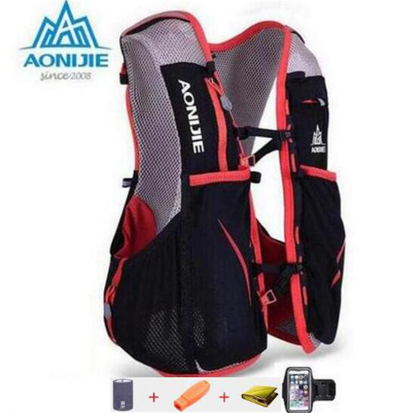 AONIJIE Men Women Outdoor Sport Running 5L Backpack Marathon Hydration Vest Pack For 1.5L Water Bag Cycling Hiking Bag стоимость