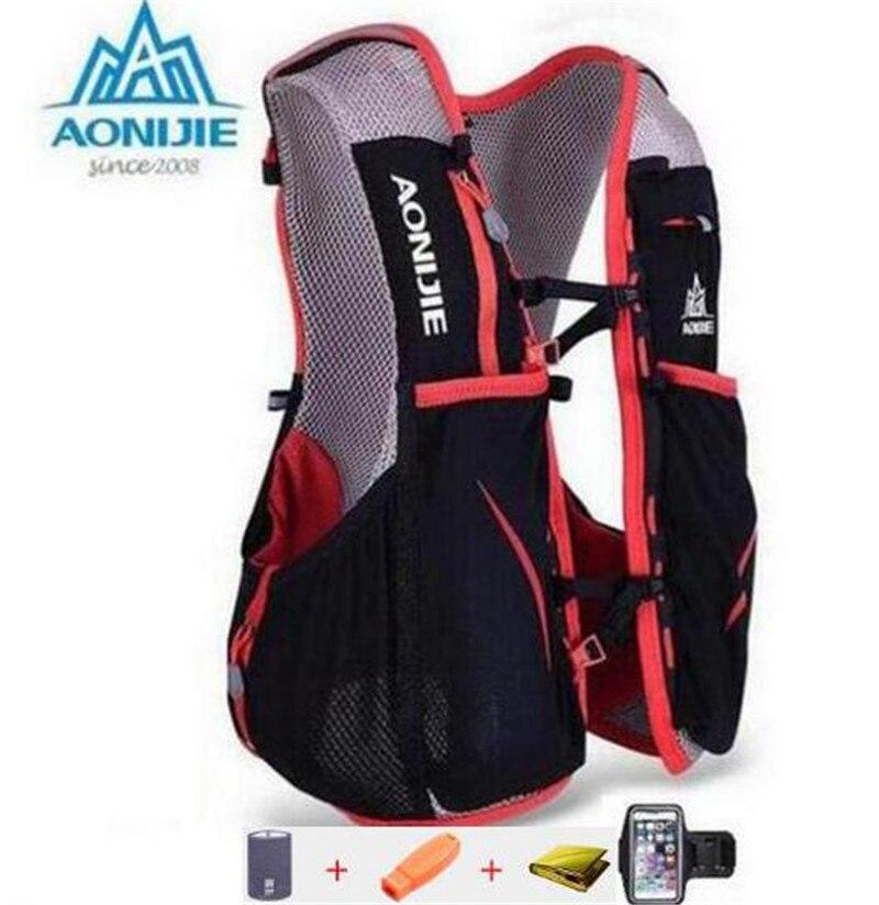 AONIJIE Men Women Outdoor Sport Running 5L Backpack Marathon <font><b>Hydration</b></font> Vest Pack For 1.5L Water Bag Cycling Hiking Bag