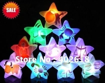 Hot sale12pcs/lot, LED night light, night lamp, light star, 7 colors flash lighting,12 The Signs of the Zodiac, free Shipping