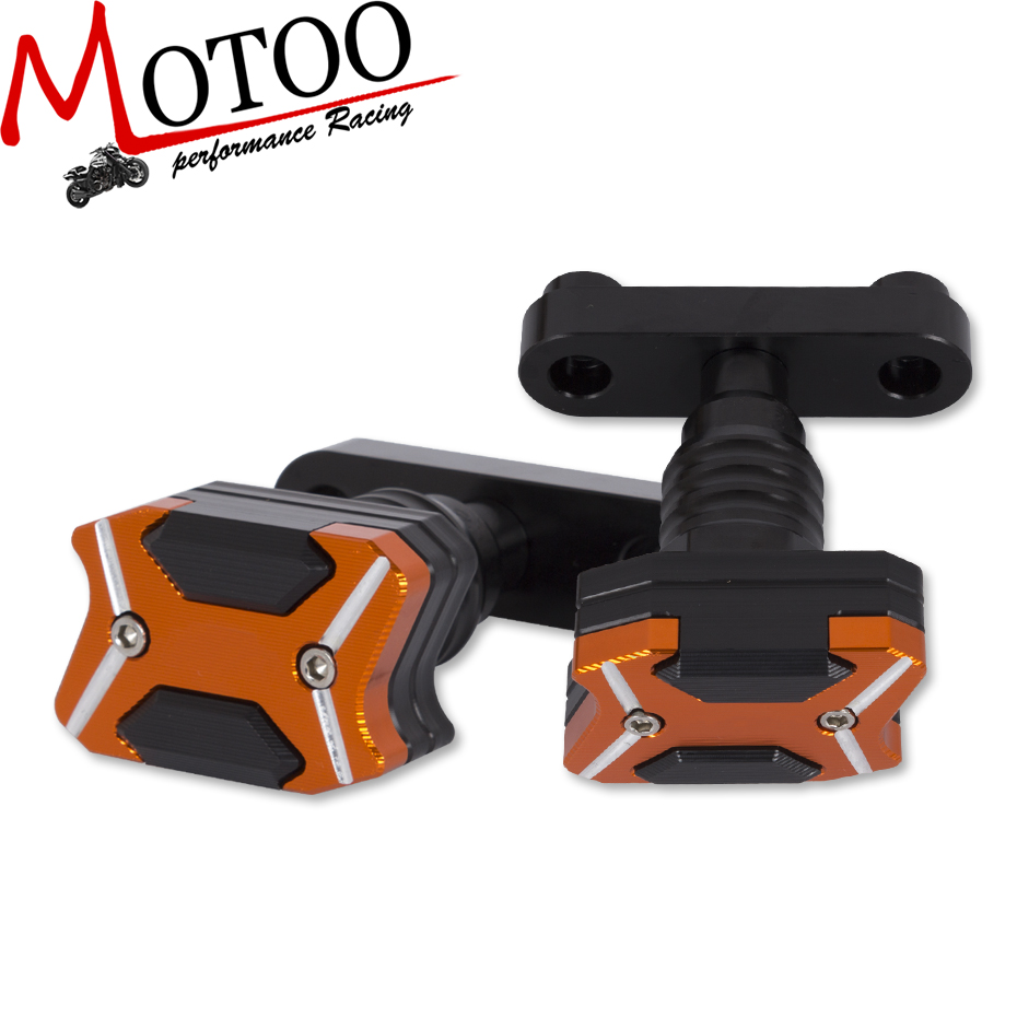 Motoo -Free Shipping For KTM DUKE RC 125 250 390   NEW CNC Aluminum Motorcycle  Anti Crash pads Protector Frame Slider for ktm duke 125 200 390 rc 125 200 390 motorcycle cnc aluminum kickstand side stand enlarger support plate