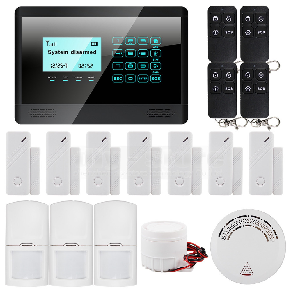 DIYSECUR Wireless GSM Short Message Touch Keyboard Home Alarm System LCD Screen + Wireless Smoke Sensor