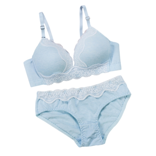 29dcbdf7605 New 2018 Girls Sweet Lace Matching Bra Corset Sexy Lace Underwear Lingerie  Women Intimates Comfortable Bralette Set Candy Color
