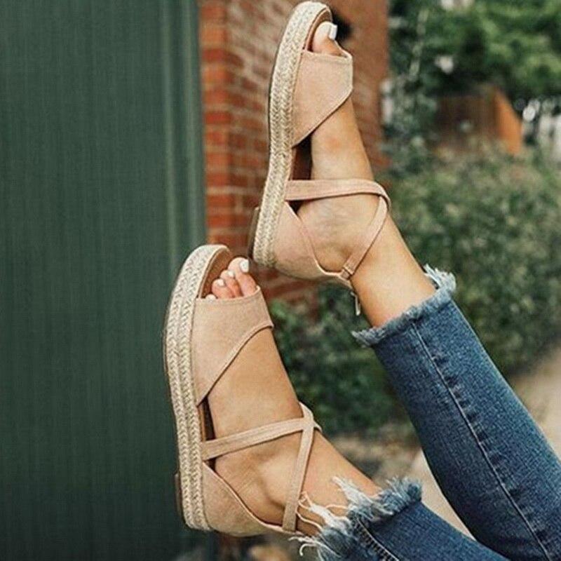 Oeak Shoes Sandals Platform Zipper Flat Peep-Toe Women's Woman Thick-Bottom Woven Fashion