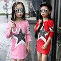 Осень дети девушка пять звезд аппликации вышитые вспышки футболки с длинным стиль больше подростков девочка рубашки девушки с длинным рукавом верхняя одежда