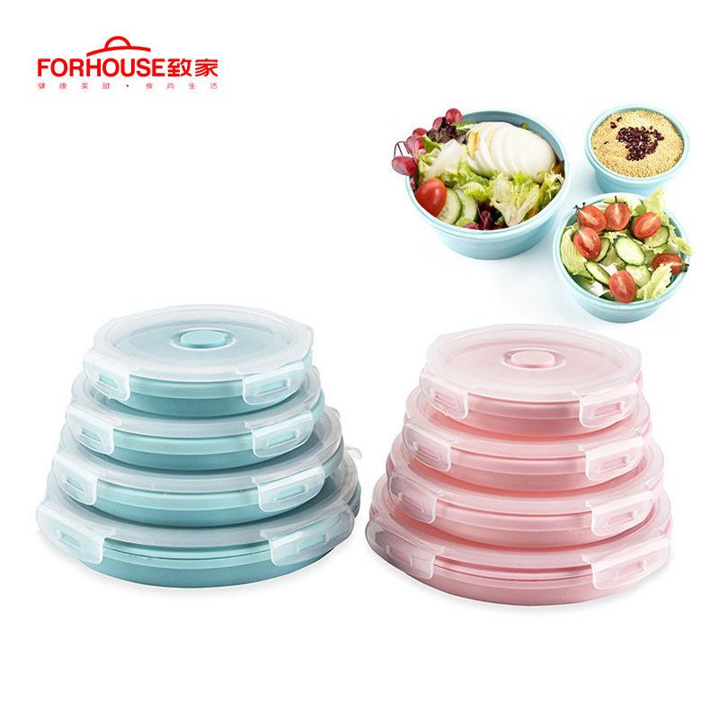 Silicone Collapsible Portable Lunch Box Microwave Oven Bowl Round Folding Bento Box Eco-Friendly Food Storage Container Lunchbox