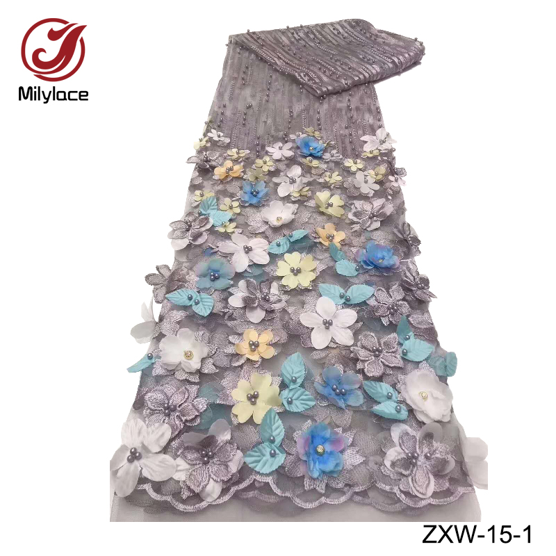 3d flower beads tulle lace fabric hot selling embroidery