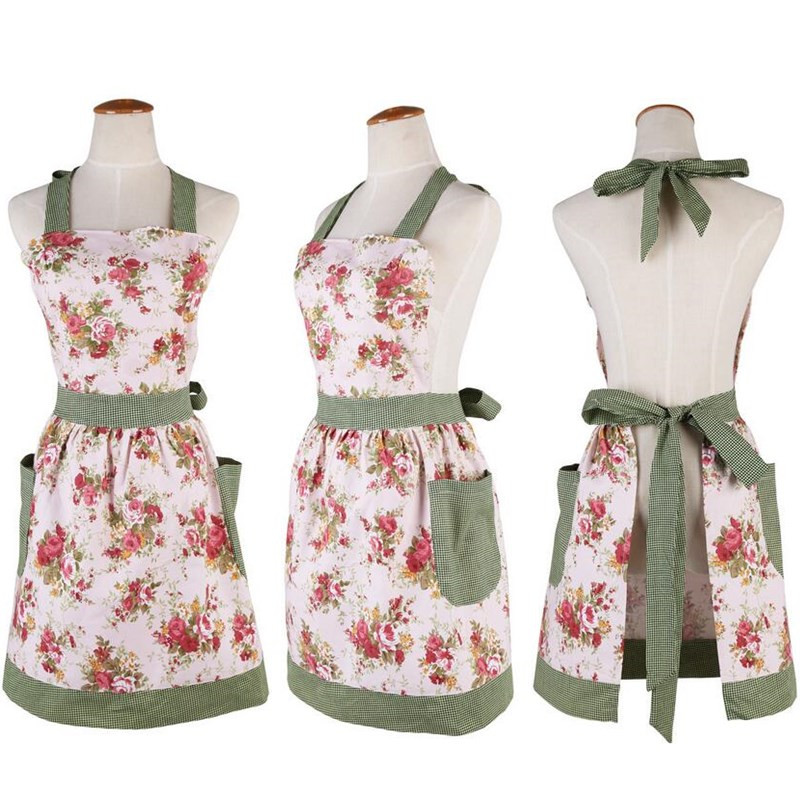 1Pcs Pink Flower Green Plaids Apron Woman Adult Bibs Home Cooking Baking Coffee Shop Cleaning Aprons