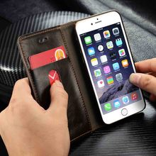 i6 Genuine Leather Magnetic Auto Flip Card Holder Case For Apple iPhone 6 Plus/ 6S Plus / 6 6s / 5S SE Cell Phone Cases Bags