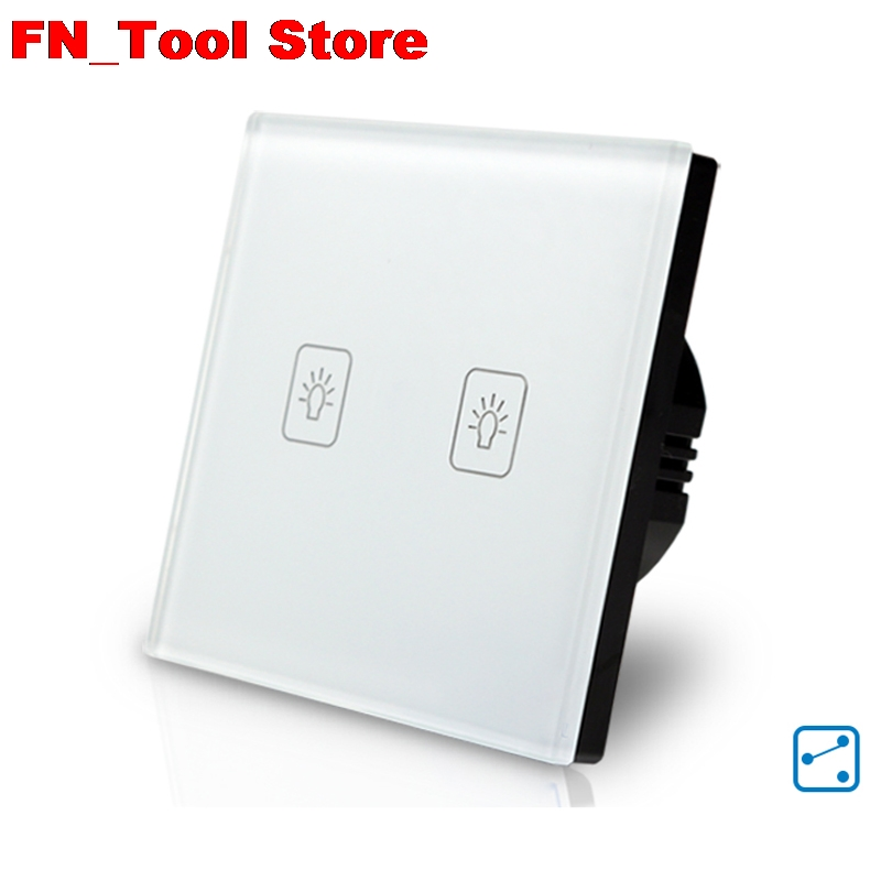 Fashion smart EU standard Touch Switch 2 Gang 2 Way Wall Light Touch Screen Crystal Glass Panel