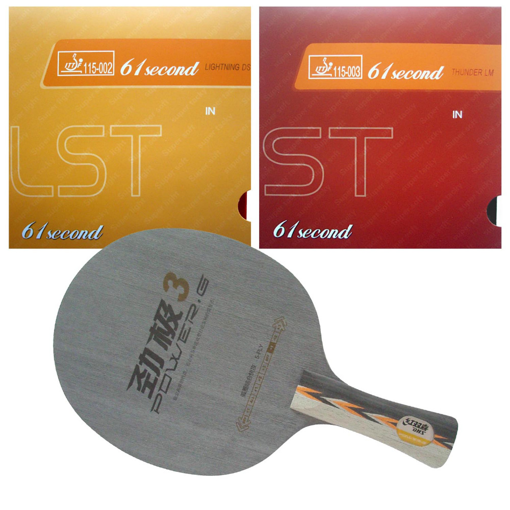 Original Pro Table Tennis Combo Racket DHS POWER.G3 PG3 PG.3 PG 3 with 61second Lightning DS LST and LM ST Long Shakehand FL pro table tennis pingpong combo paddle racket dhs power g3 pg3 pg 3 pg 3 2 pcs neo hurricane3 shakehand long handle fl