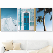 Sea Fog Tree Blue Door Snow Wall Art Canvas Painting Nordic Poster And Prints Landscape Pictures For Living Room Home Decor