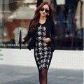 Mulheres elegantes Patchwork xadrez de manga comprida Patchwork túnica trabalhar Business Casual partido Bodycon lápis bainha vestido 10