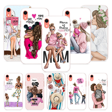 OUTMIX Baby and Mom Girl Queen Soft Silicone Case For iPhone 7 8 plus X XS XR max 5 5s 6 6S 6plus phone shell for girls black