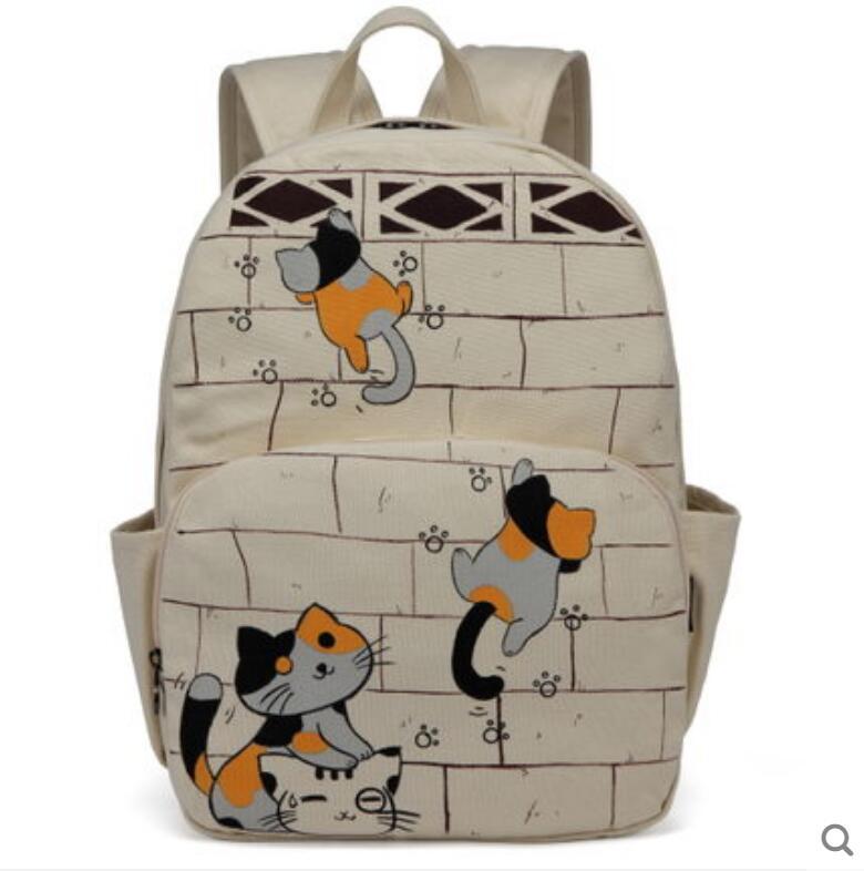 цена на 2018 new backpack Lap top shoulder bag female Korean canvas bag student campus high-quality hand-painted backpack