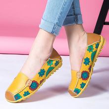 Women Casual Shoes Genuine Leather Printing Loafers Shoes Woman Fashion Slip On Shallow Flats Shoes