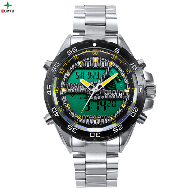 NORTH Men Sport Watch Dual Time Display Stainless Steel Multifunction Outdoor Waterproof Male Wristwatch Fashion Men Sport Watch
