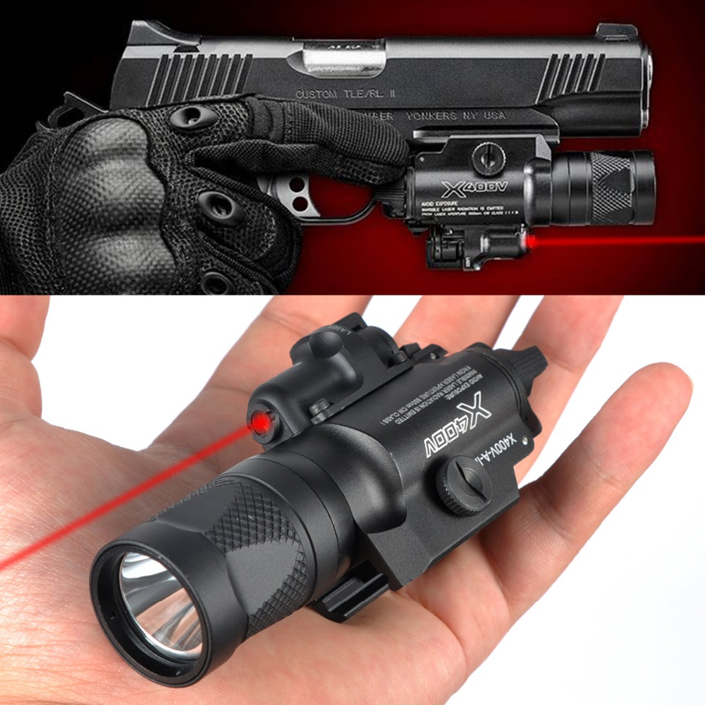 LAMBUL X400V IR Night Vision Weapon Light Combo Laser Tactical Pistol LED Red Laser Flashlight Ultra