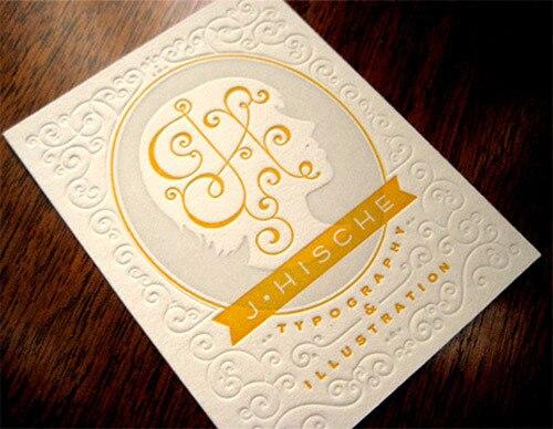 2016 Nouvelle Conception Couleur Typographique Carte De Visite Personnalisee En Creux Relief
