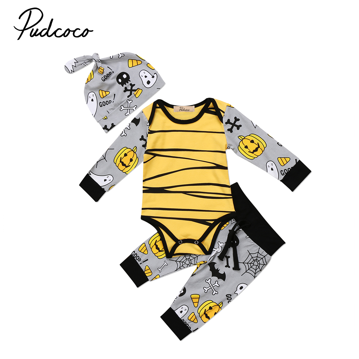 Pudcoco 2017 Cute Baby Boys Girls Halloween Clothes Pumpkin Stripes Long Sleeve Romper Tops Pants Hat Outfits Set Winter Clothes