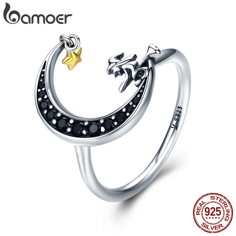 BAMOER 100% 925 Sterling Silver Magic Witch in Moon Star Black CZ Dangle Finger Ring for Women Sterling Silver Jewelry SCR288