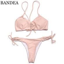 BANDEA bikinis women 2017 Swimwear solid Bikini Sexy Padding Swimwear Lace up Brazilian Bikinis Set maillot de bain