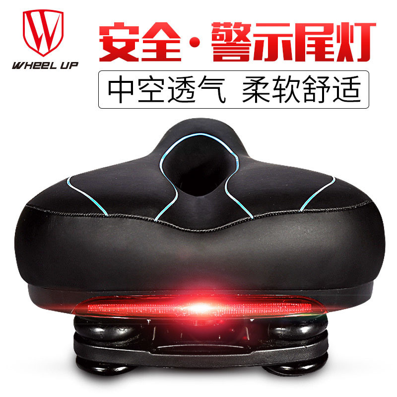 S17 PVC MTB Mountain Road Leather Bicycle Seats Men Women Pad Cycling Part With Taillights Bicycle Accessories Saddle Breathable|Bicycle Saddle| |  - title=