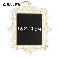 16 19cm Hanging Type Hollow Style Rectangle Blackboard With Hemp Rope DIY Writing Message Board