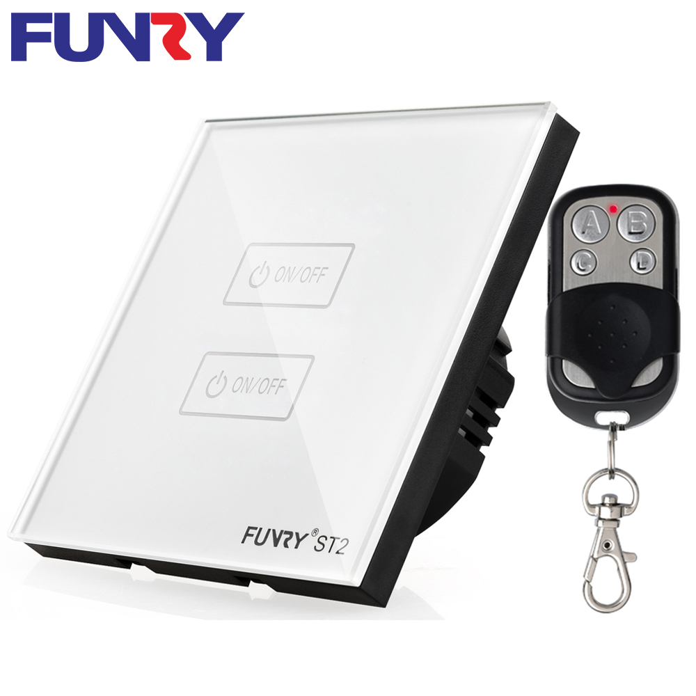 Funry EU/UK 2 Gang 1 Way Wireless Light Touch/Remote Control Pannel Waterproof Bouton Poussoir Crystal Glass Panel Smart Switch funry eu uk standard 1 gang 1 way led light wall switch crystal glass panel touch switch wireless remote control light switches