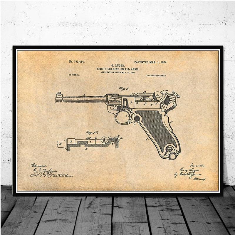 Постер и принты Luger Pistol патентная схема пистолета Современная живопись художественная живопись настенные картины для гостиной домашний декор - Цвет: Тёмно-синий