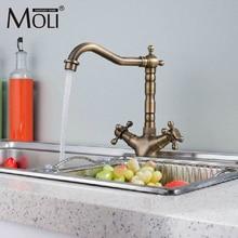 Античная латунь кухонный кран Double Cross Ручка одно отверстие смесители бортике вращающийся носик водопроводной воды