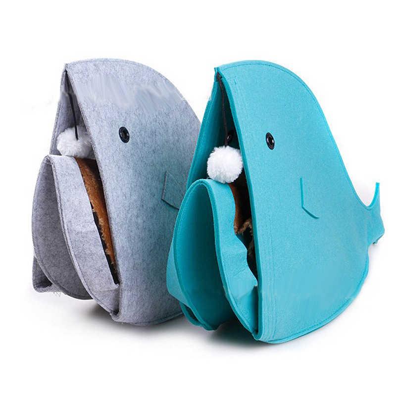 Składany kształt rekina łóżko dla psa ciepły miękki dom dla zwierząt śpiwór buda dla psa mata łóżka zabawka dla kota dom z filcu