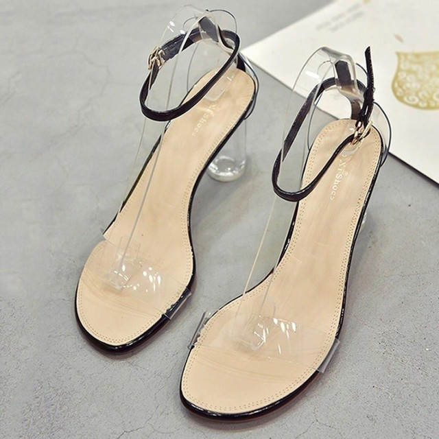 2bf6c555ff0 Fashion Women Transparent Sandals Ankle High Heels Block Party Open Toe  summer shoes sandales femme 2018 nouveau
