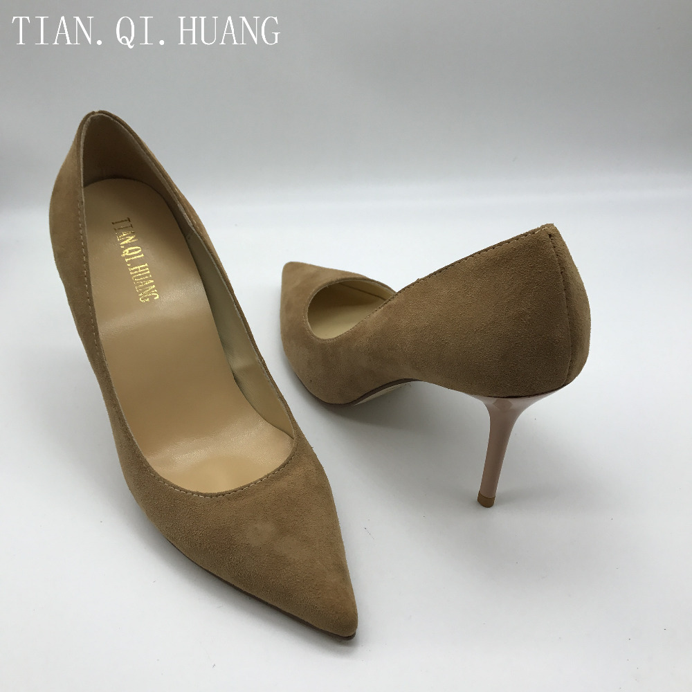 New Suede High Heels Shoes Styles Fashion Design Pumps Women, Genuine leather Woman Sexy Shoes Brand TIAN.QI.HUANGSize 35-42 1