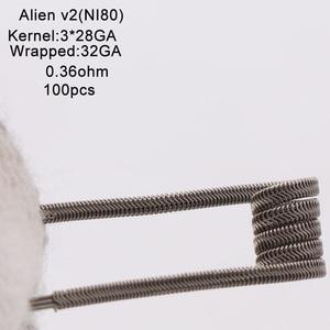 Image 5 - XFKM Ni80/A1/SS316 Alien v2 Coils For RDA RTA Atomizer Electronic Cigarette Vape Pen Accessory 100 Pieces/box Alien V2 Coil