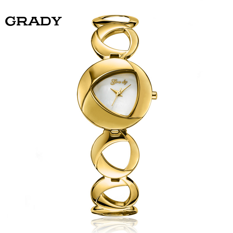 2016 Fashion New Grady Stainless Steel Women Watches Elegant Gold Watch Gift Quartz Watch Women Wristwatches