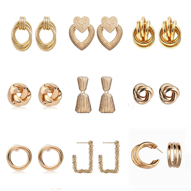Vintage Drop Dangle Earrings For Women Geometric ZA Metal Statement Earrings Gold Silver Color Twist Round Simple Punk Jewelry