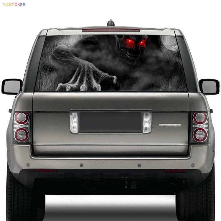 new hot terrifying car high beam ghost sticker see through rear windshield self adhesive sticker decal with heat resistance hot sale custom decals for cars uv protection 3m car vinyl wrap rear windshield high beam ghost decal sticker with suction cup
