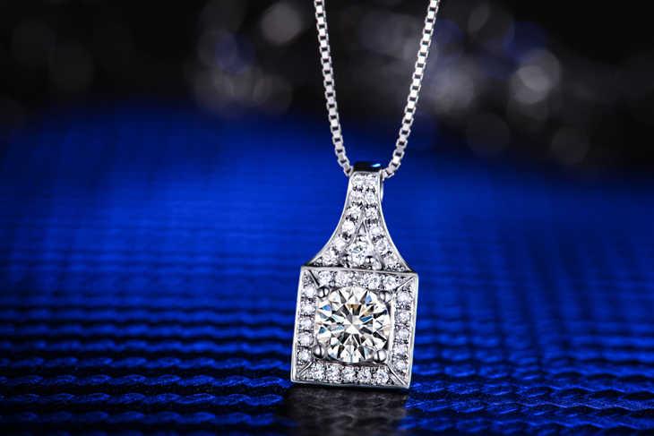 קולר אוהב בזוגות ZOCAI 18 K זהב לבן 0.40 CT H/SI יהלומים עם 925 כסף אמיתי מוסמך שרשרת שרשרת D04571