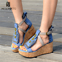 Prova Perfetto Fashion Wedge Shoes for Women Summer Gladiator Sandals Sexy Platform Wedges Female Sandals Beach Shoes Woman
