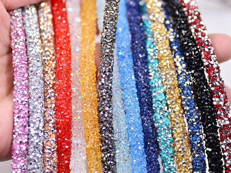 JUNAO 1 Meter Resin Tube Rhinestones Chain Trim Crystal Beads - Өнер, қолөнер және тігін - фото 4