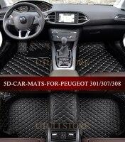 Leather Car floor mats for Peugeo301 307 308 206 207 208 4Door/5Door Hatchback/Sedan 5D waterproof custom fit car foot mats