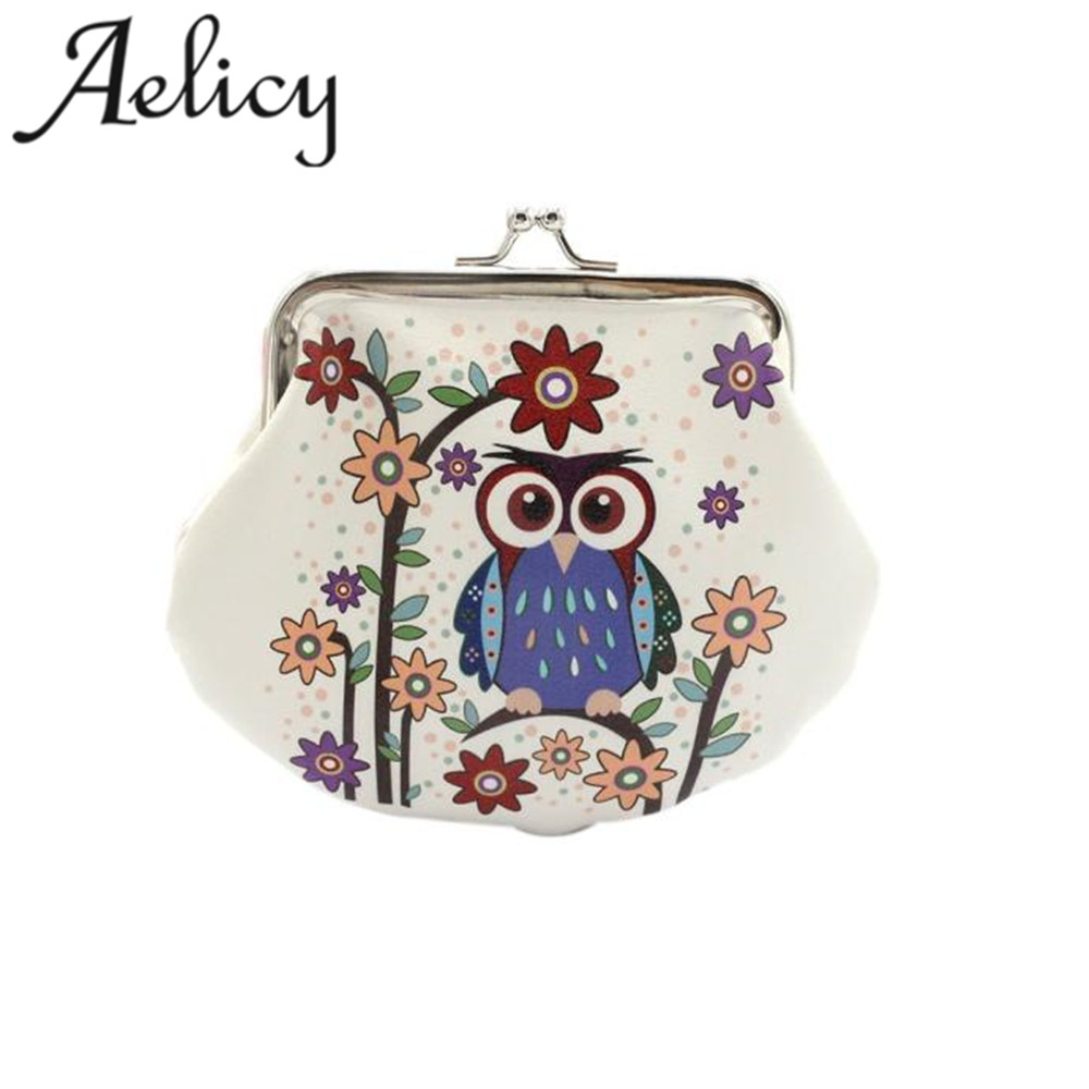 Aelicy 2018 Hot New Fashion Design Women light high quality Lady Retro Vintage Owl Leather Small Wallet Hasp Purse Clutch Bag