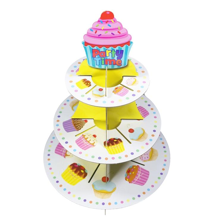 1Pcs 3 Tier Cardboard Paper Cupcake Cake Stand Plates Display Holder ...
